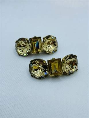 Vintage LARGE Costume Jewelry Topaz Pins