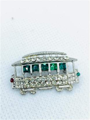 Vintage High Quality Costume Jewelry Brooch Rhinestone