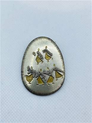 M. Katz DANCING SABRAS Silver Pin Brooch
