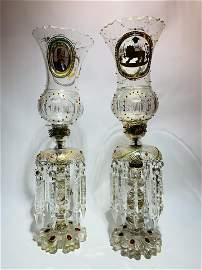 Pair Bohemian Gilt-Jeweled Decorated Lusters