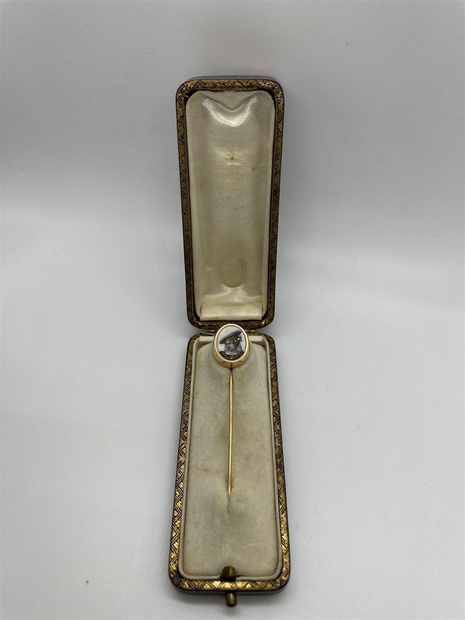 Antique French Enamel Diamond Stick Pin with Box