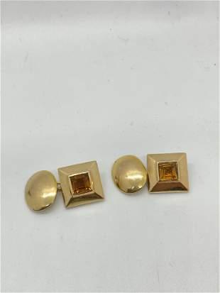 14k Gold Citrine Cufflinks