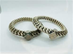 Vintage Indian Silver Bracelets Bangle  444 grams