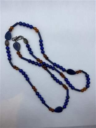 Vintage Lapis Lazuli Necklace Silver Costume Jewelry