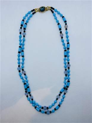 Vintage Signed Miriam Haskell 2 Strand Necklace Blue