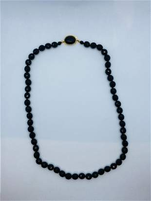 Vintage Signed Miriam Haskell Necklace Black Glass