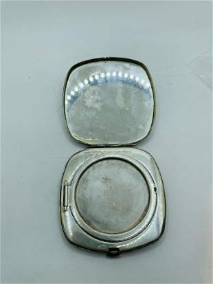 Art Deco Engraved Sterling Silver Compact Case