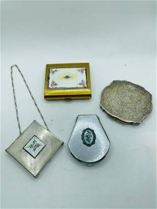 Art Deco and Vintage Lot of Enamel Compacts