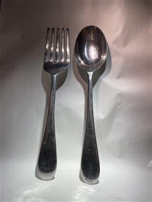 46 inch Life Size Chrome Steel Spoon and Fork Massive