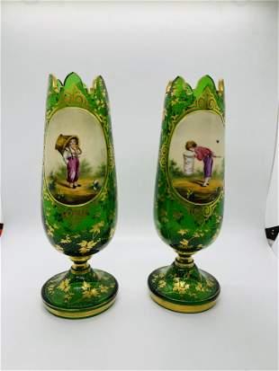 Antique Bohemian Green Glass Vases