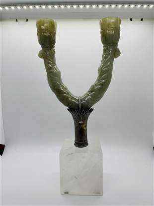 Carved Mogul Jade Candle Sticks Rock Crystal Silver