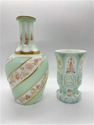 Bohemian Glass Cup and Bottle Green Overlay Glass