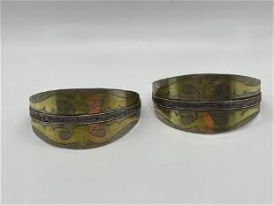 Pair Silver Carnelian Turkoman Turkmenistan Cuff