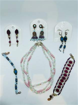 Vintage Sharagano Glass Costume Jewelry Lot of 6 Pieces
