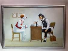 Vintage Robert Owen Oil on Canvas Painting Clowns Dr