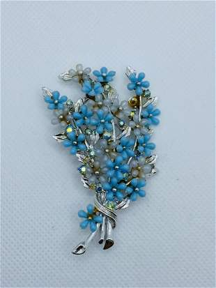 Vintage Signed ART Costume Jewelry Brooch Flowers Pin