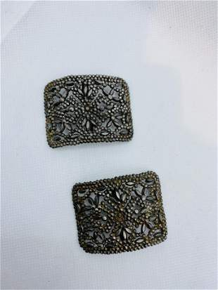 Antique Victorian Steel Cut Jewelry Shoe Clips France