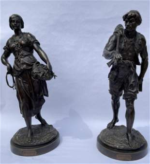 Pair of Large Patinated Bronze Figures by Picault