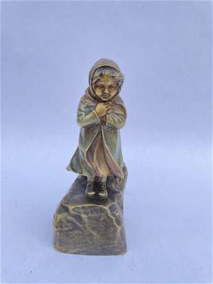 French Bronze Statue of Girl Signed Cold Painted