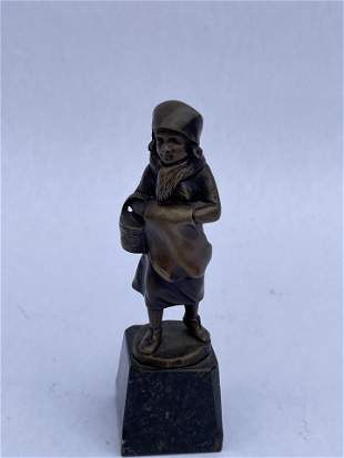 French Bronze Statue of Girl Signed
