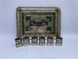 Iraqi Niello Silver Tray with Tea Cups