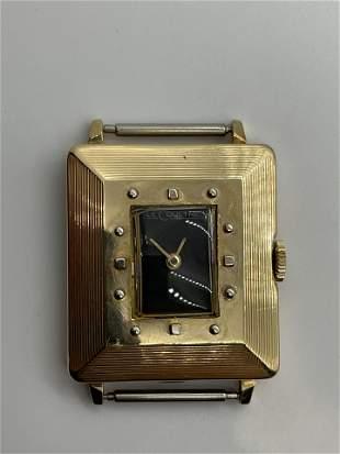 Rare Art Deco Le Coultre 14k Gold Watch Black Dial