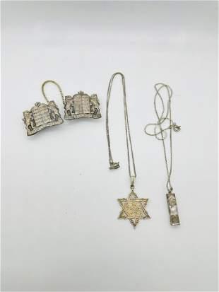 Lot of 3 Sterling Silver Jewish Judaica Jewelry Torah