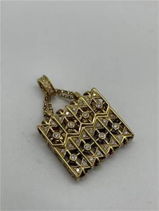 18K Diamond Purse Bag Pendent Necklace 2 Blue Diamond
