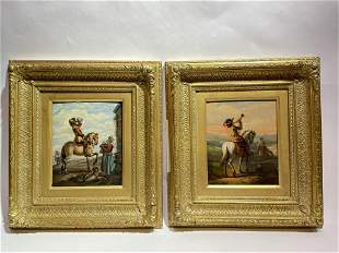 Signed Pair Antique Paintings with Horses in Gilt Wood
