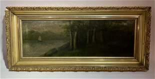 Antique Hudson River Landscape oil on canvas Painting
