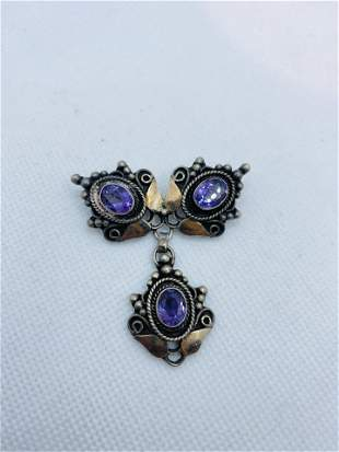 Antique Victorian Sterling Silver Brooch with Amethyst