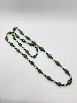 Vintage Garnet Onyx Quartz Beaded Necklace Long