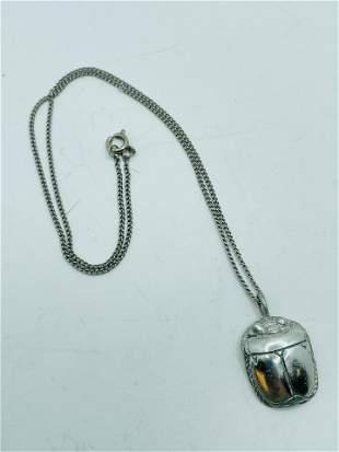 Vintage Silver Tone Egyptian Scarab