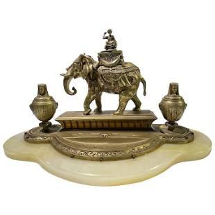 Antique Bronze Egyptian Themed Elephant Inkwell Onyx