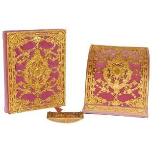 American Gilt Bronze Ormolu-Mounted Pink Velvet Desk