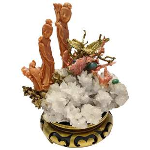 Carved Chinese Coral Figures Guanyin and Bird