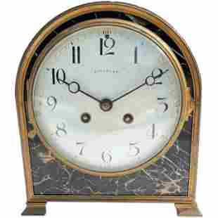 Tiffany Bronze and Marble Art Deco Desk or Mantle Clock