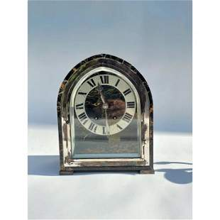 Tiffany Silver and Marble Art Deco Desk or Mantle Clock