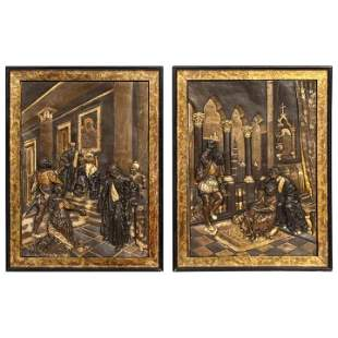 Pair of Gilt and Patinated Bronze Relief Plaques