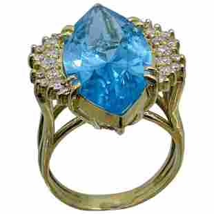 14k Gold Marquis Blue Topaz and Diamond Gold Ring