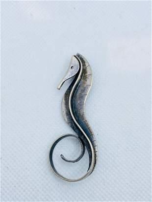 Vintage Sterling Silver Seahorse Brooch by Paul Lobel