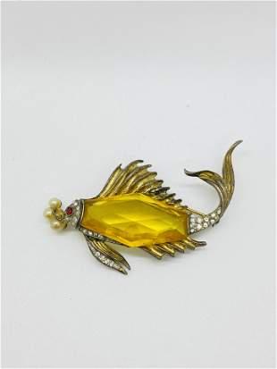 Alfred Philippe Crown Trifari Sterling Silver Fish