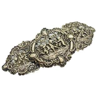 Victorian Antique Silver Belt Buckle Cherubs