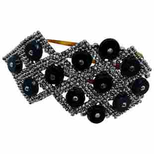 Antique Victorian Steel Cut Jewelry Onyx Hair Pin