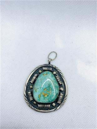 Vintage 1970's Silver Native American Turquoise Pendant