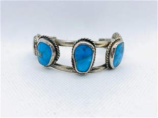 Vintage Native American Bangle Bracelet Turquoise Cuff