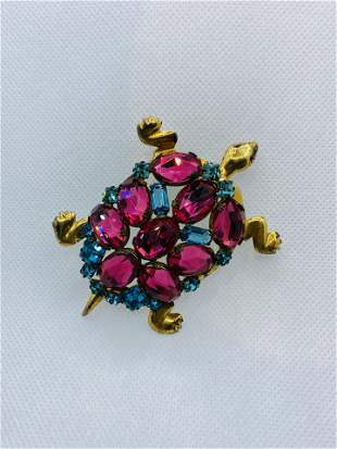 Vintage Sterling 925 Silver Turtle Brooch Pin with
