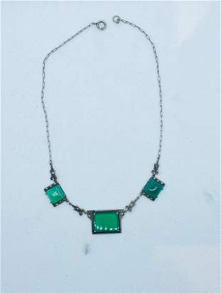 Art Deco Sterling Silver Marcasite Chrysoprase Necklace