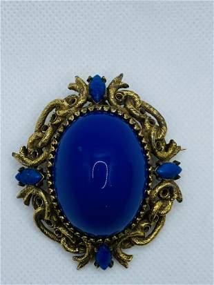 Vintage LARGE Jeanne Costume Jewelry Brooch Blue