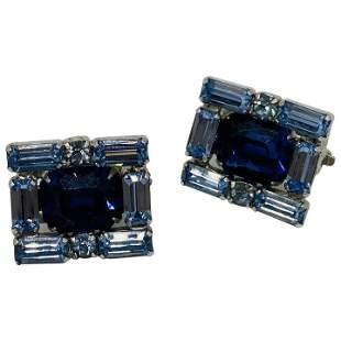 Vintage Blue Rhinestone Kramer Of NY Earrings